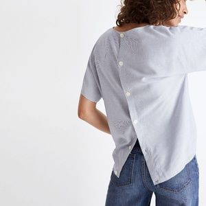 Madewell Button-Back Tie Tee in Striped Blue